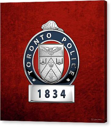 Police Art Canvas Print - Toronto Police Service  -  T P S  Officer Badge Over Red Velvet by Serge Averbukh