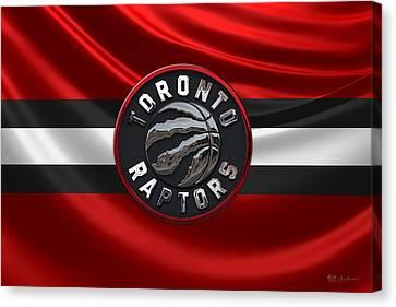 Basketball Collection Canvas Print - Toronto Raptors - 3 D Badge Over Flag by Serge Averbukh
