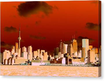 Canvas Print featuring the photograph Toronto Red Skyline by Valentino Visentini