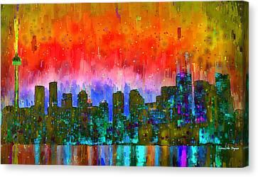 Toronto Skyline 11 - Pa Canvas Print by Leonardo Digenio