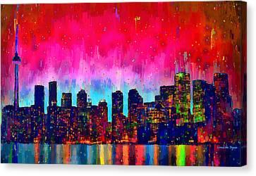 Centre Canvas Print - Toronto Skyline 20 - Pa by Leonardo Digenio