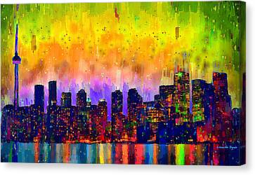 Toronto Skyline 21 - Da Canvas Print by Leonardo Digenio