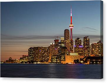 Canvas Print featuring the photograph Toronto Skyline At Dusk by Adam Romanowicz