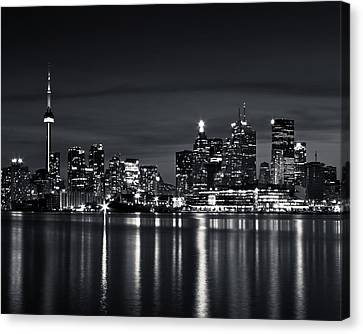Toronto Skyline At Night From Polson St No 2 Black And White Ver Canvas Print by Brian Carson