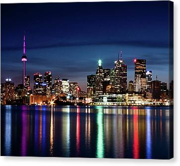 Toronto Skyline At Night From Polson St No 2 Canvas Print by Brian Carson