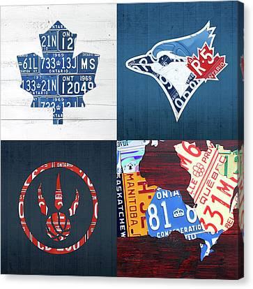 Toronto Sports Team License Plate Art Ontario Map Blue Jays Maple Leafs Raptors Canvas Print