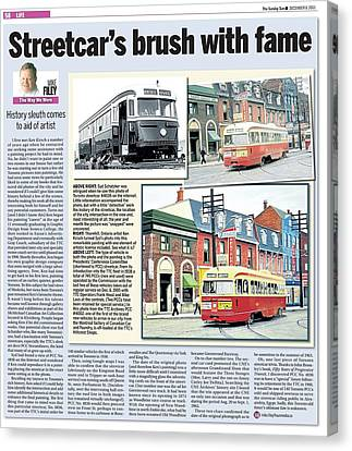 Canvas Print featuring the painting Toronto Sun Article Streetcars Brush With Fame by Kenneth M Kirsch