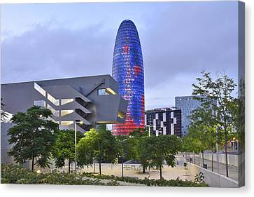 Canvas Print featuring the photograph Torre Agbar Barcelona  by Marek Stepan