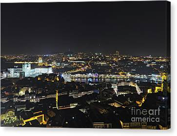 Torre Dos Clerigos View Over The City In Porto Canvas Print by Angelo DeVal