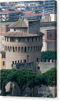 Torre San Giovanni St Johns Tower On The Ramparts Of The Walls Of The Vatican City Rome Canvas Print by Andy Smy