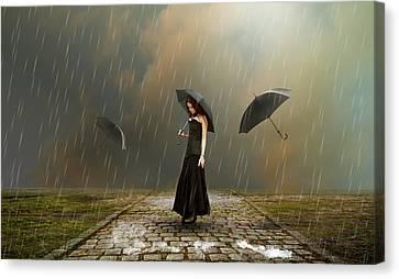 Storm Canvas Print - Torrential Rain by Marvin Blaine