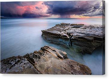 Canvas Print featuring the photograph Torrey Pines - Flat Rock Storm by Alexander Kunz