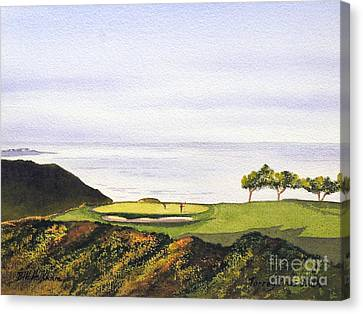 Canvas Print featuring the painting Torrey Pines South Golf Course by Bill Holkham