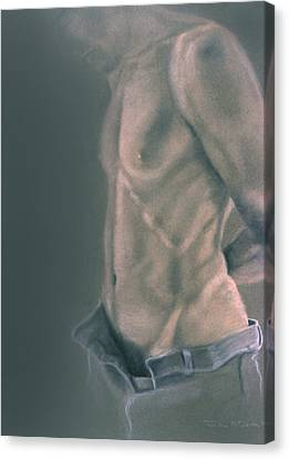 Canvas Print - Torso With Jeans by John Clum