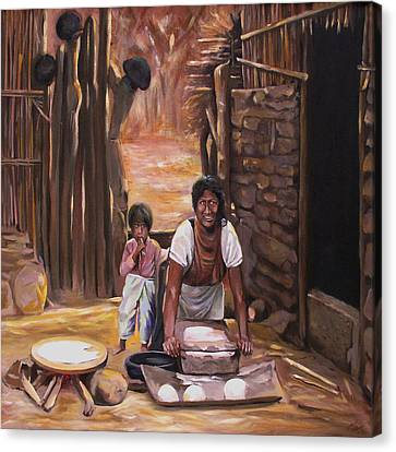 Canvas Print featuring the painting Tortillas De Madre by Nancy Griswold