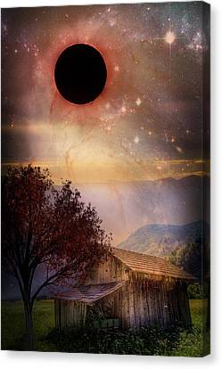 Total Eclipse Of The Sun Barn Art Canvas Print by Debra and Dave Vanderlaan