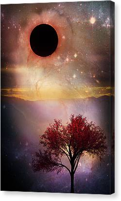 Total Eclipse Of The Sun Tree Art Canvas Print by Debra and Dave Vanderlaan