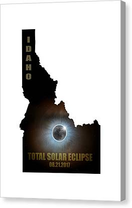 Total Solar Eclipse In Idaho Map Outline Canvas Print by David Gn