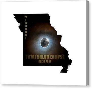 Total Solar Eclipse In Missouri Map Outline Canvas Print by David Gn