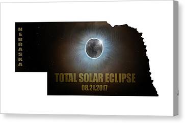 Total Solar Eclipse In Nebraska Map Outline Canvas Print by David Gn