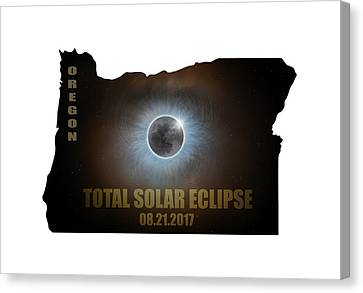 Total Solar Eclipse In Oregon Map Outline Canvas Print by David Gn