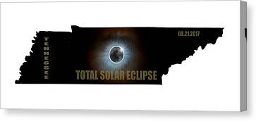 Total Solar Eclipse In Tennessee Map Outline Canvas Print by David Gn