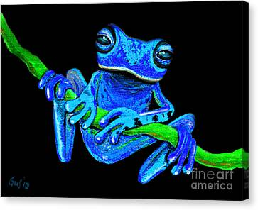 Totally Blue Frog On A Vine Canvas Print by Nick Gustafson