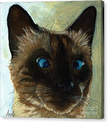 Totally Siamese - Cat Portrait Oil Painting Canvas Print by Linda Apple