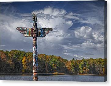 Woodcarving Canvas Print - Totem Pole During Autumn By A Lake by Randall Nyhof