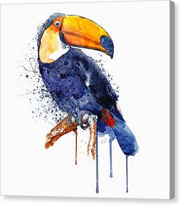 Colorful Paints Canvas Print - Toucan by Marian Voicu