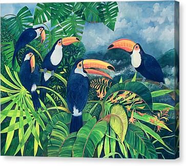 Lush Colors Canvas Print - Toucan Talk by Lisa Graa Jensen