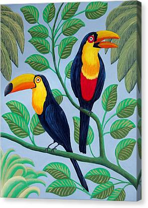 Canvas Print featuring the painting Toucans by Frederic Kohli