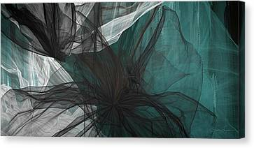 Touch Of Class - Black And Teal Art Canvas Print by Lourry Legarde