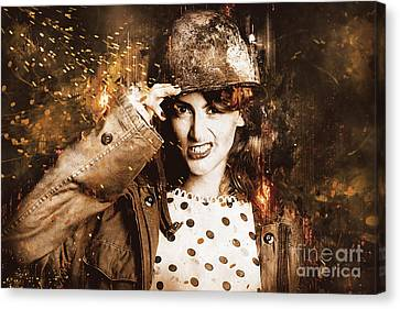 Tough Pin Up Soldier Canvas Print by Jorgo Photography - Wall Art Gallery