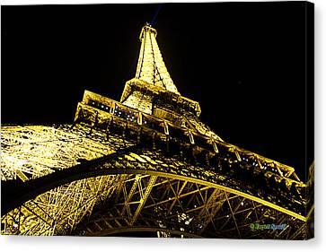 Tour Eiffel - La Nuit Par Le Bas Canvas Print by Everett Spruill