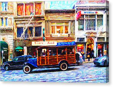 Touring The Streets Of San Francisco . Photo Artwork Canvas Print by Wingsdomain Art and Photography