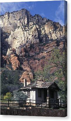 Tourist Cabins Built In 1933 And Red Canvas Print