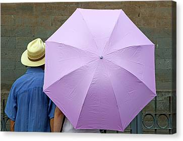 Tourist Looking At A Wall While Sheltering Under An Umbrella Canvas Print