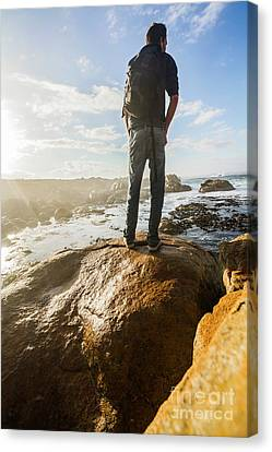 Tourist Looking At The Ocean Canvas Print by Jorgo Photography - Wall Art Gallery