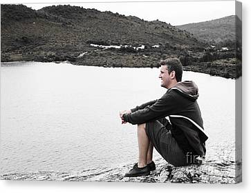 Tourist Seated At Dove Lake Lookout In Tasmania Canvas Print by Jorgo Photography - Wall Art Gallery