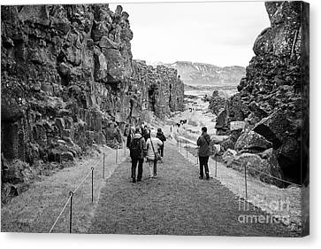 tourists walk through the Almannagja fault line in the mid-atlantic ridge north american plate Canvas Print by Joe Fox