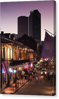 Tourists Walking In The Street, Bourbon Canvas Print