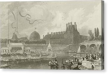 White River Scene Canvas Print - Tournay On The Seine During The July Fetes by Eugene-Louis Lami