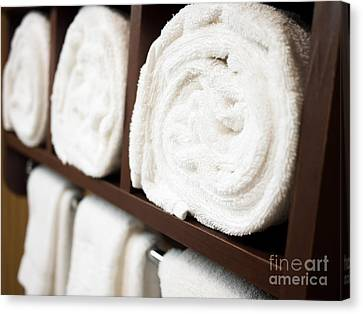 Towel Rack With Rolled Towels Canvas Print by Paul Velgos