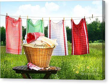 Clothesline Canvas Print - Towels Drying On The Clothesline by Sandra Cunningham