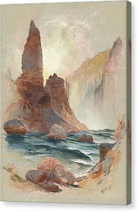 Tower At Tower Falls, Yellowstone Canvas Print by Thomas Moran