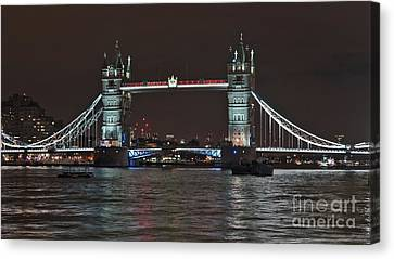 Tower Bridge From Riverbanks In London Canvas Print