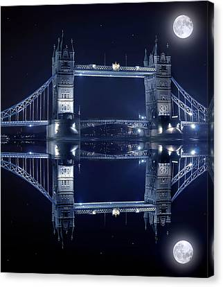 Tower Bridge In London By Night  Canvas Print