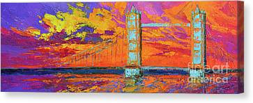 Tower Bridge Colorful Painting, Under Vibrant Sunset Canvas Print by Patricia Awapara