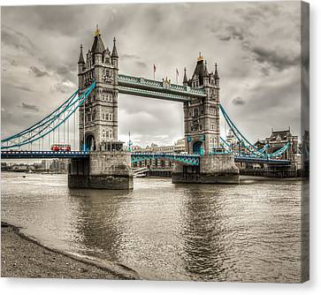 Tower Bridge In London In Selective Color Canvas Print by James Udall